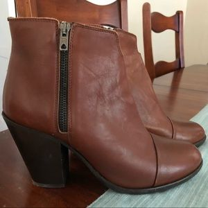 Leather booties with zips on both sides